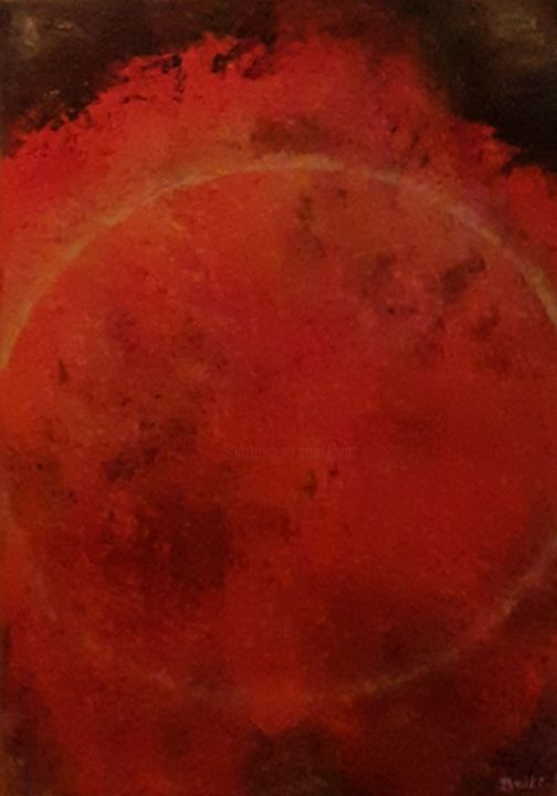 Eruption solaire - Painting,  13x8.7x0.4 in, ©2020 by Britt -                                                                                                                                                                                                                                                                                                                                                                                                          Abstract, abstract-570, Outer Space, planète, soleil, rouge, éruption, solaire