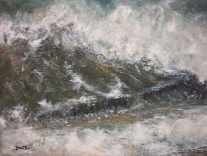 La vague - Painting,  21.3x28.7 in, ©2010 by Britt -                                                                                                                                                                                                                          Impressionism, impressionism-603, Seascape, Une vague déferlant sur la plage