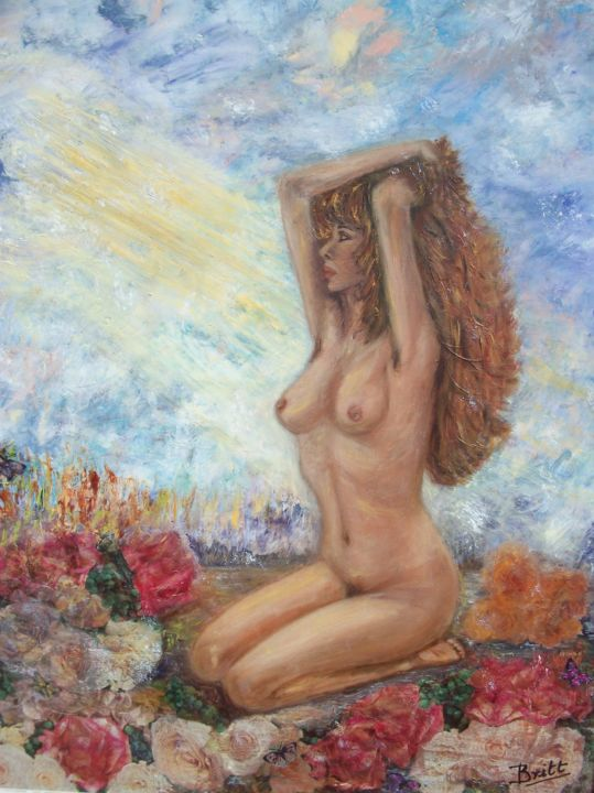Au commencement... - Painting,  25.6x21.3 in, ©2010 by Britt -                                                                                                                                                                                                                          Impressionism, impressionism-603, Nude, Femme nue
