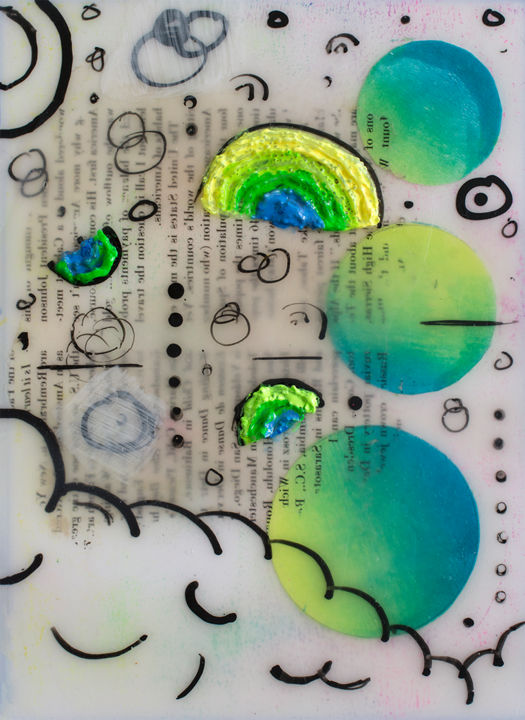 """Painting titled """"Happy Clouds"""" by Brittany Ellis, Original Art, Acrylic"""