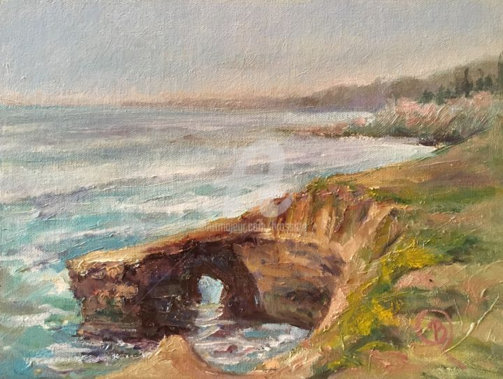 Sunset Cliffs - Painting,  9x12x1 in ©2017 by B.Rossitto -                                                                        Contemporary painting, Impressionism, Canvas, Seascape, seascape, san Diego, sunset cliffs, brossitto, outdoor painter, plein aire, pace2017, pacific coast