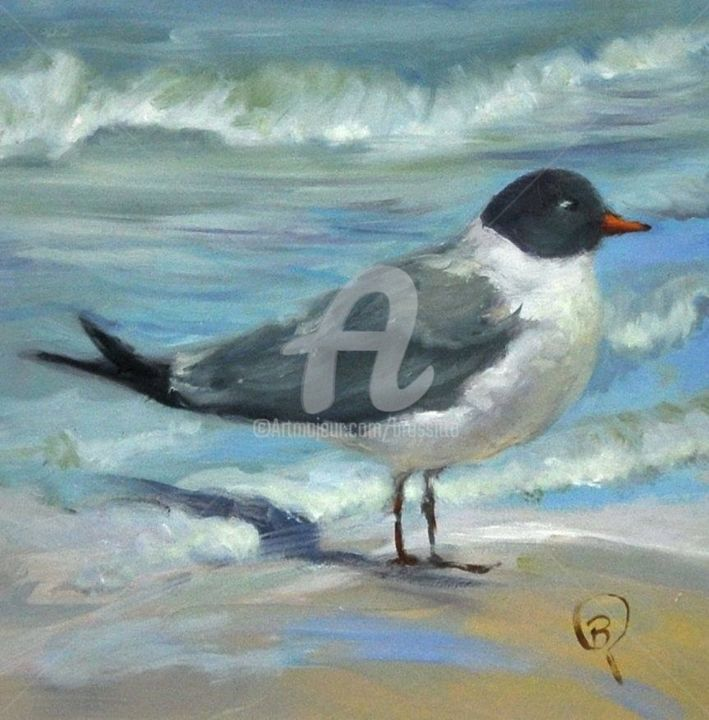 It's My Tern - Painting,  8x8x1.5 in ©2017 by B.Rossitto -                                                                                                                        Contemporary painting, Other, Wood, Animals, Beach, Birds, Nature, Seascape, tern, water birds, gull, sea, ocean birds, by the sea, blue