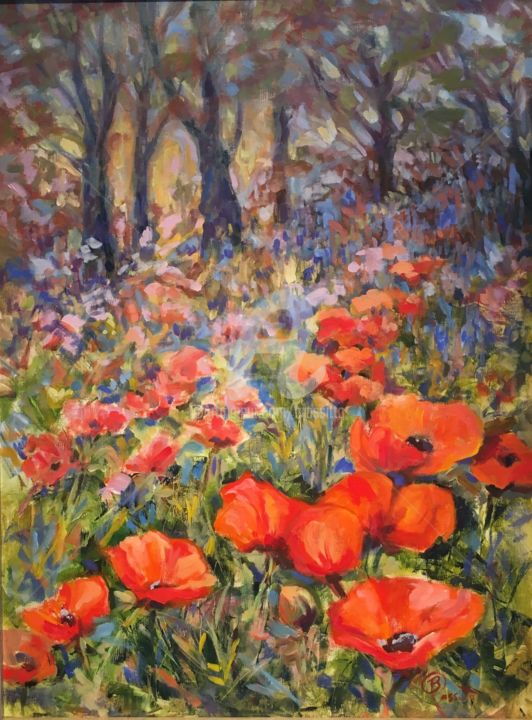 Lake Placid Poppies - Painting,  24x18x1 in ©2017 by B.Rossitto -                                                                                                Contemporary painting, Canvas, Flower, Garden, Landscape, Nature, red, poppies, B.Rossitto, flowers, landscape, nature, garden