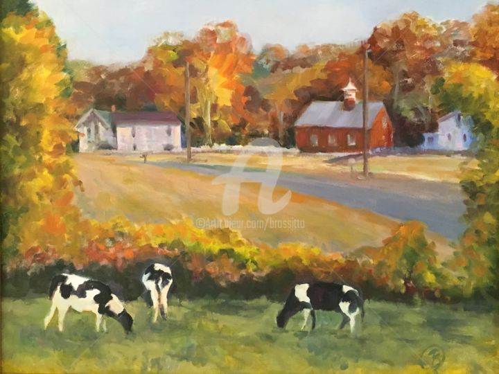 Granby Farm, Autumn - Painting,  16x20x2 in, ©2018 by B.Rossitto -                                                                                                                                                                                                                                                                                                                                                                                                                                                                                                                                                                                          Fauvism, fauvism-942, Animals, Farm, Landscape, farm, cows, dairy farm, granby, connecticut, rural, new england
