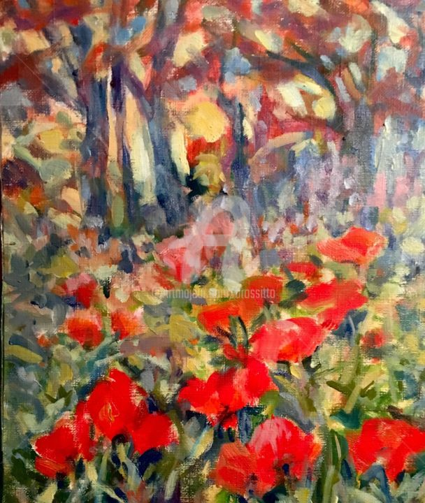 Lake Placid Poppies Study - © 2017 poppies, red flowers, landscape, garden, nature, red, impressionistpainting, womenartist, expressionist painting, b.rossitto, fauvisism Online Artworks
