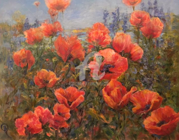 Field of Poppies - © 2017 poppies, papavar, red flowers, poppypainting, women-artists, adirondacks, outdoorpainter, contemporary, redflowerpainting, landscapepainting, fineart Online Artworks