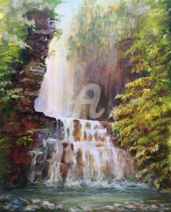 Tall Falls,  Adirondacks - Painting,  20x16x1 in ©2017 by B.Rossitto -                                                                                                Contemporary painting, Impressionism, Cotton, Landscape, Nature, Water, waterfall, tall Falls, adirondacks, primal, nature, water, landscape, B.Rossitto, outdoor painter, plein air, waterfallpainting, contemporaryimpressionist, womenartist, connecticutartist, national forest, impressionistpainting