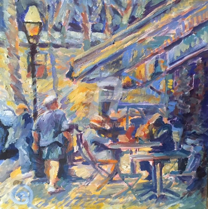 Chester Al Fresco - Painting,  8x8 in ©2019 by B.Rossitto -                                                                        Contemporary painting, Impressionism, Other, Cityscape, chester, citiscape, outdoor cafe, impressionist, oil painting, square format painting, al fresco, dining, b.rossitto