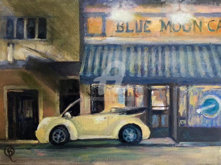 Blue Moon - © 2019 blue moon, adks, adirondacks, cafe, vw, beetle, plein air, nocturnal painting, b.rossitto Online Artworks