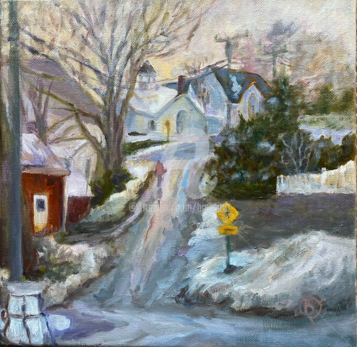 Long Hill Home - Painting,  12x12x1 in, ©2020 by B.Rossitto -                                                                                                                                                                                                                                                                                                                                                                                                                                                                                                                                                                                                                                                                                                                                                                                                                                                                                                                                                                                                                                                                                              Impressionism, impressionism-603, artwork_cat.Cityscape, townscape, street, connecticut, essex, quaint, new England, impressionist, warm white, grey, winter, hill, church, snow, woman, figure, alone, solitude, slope, melting, quintessential
