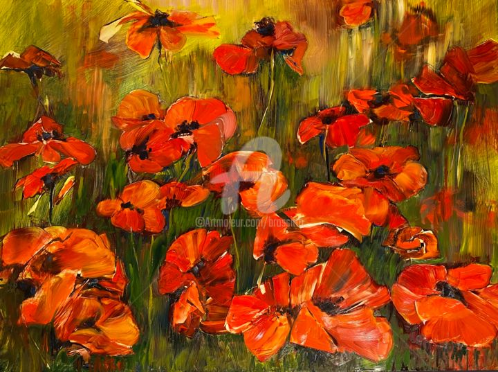 Big Red! - Painting,  18x24x1 in, ©2020 by B.Rossitto -                                                                                                                                                                                                                                                                                                                                                                                                                                                                                                                                              Impressionism, impressionism-603, Flower, Landscape, poppies, oil on aluminum, b.rossitto, flowers, red, expressive, spring flowers