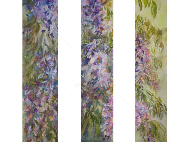 wysteria 3 panel - Painting,  17x24 in ©2008 by B.Rossitto -                            Figurative Art, wysteria 3 panel trip tic mixed media watercolor pastel floral flowers spring blue lavender garden study brossitto rossitto