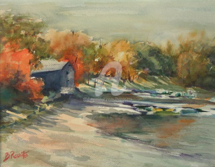 Autumn Morning At the Cove - Painting,  16x20 in ©2006 by B.Rossitto -                            Figurative Art, watercolor, water, autumn, fall colors, barn, trees, landscape painting, rossitto, CT, Connecticut, River, CWS, juried, show, Wethersfield, Cove, new england, historical, foliage, impressionistic. translucent, transparent, Museum, Essex, serene, morning