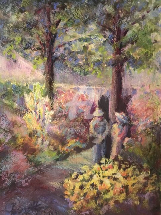 Primrose Path - © 2007 American Impressionist Florence Griswold Museum primrose path garden flowers brossitto rossitto watercolor watercolour sunlight june soleil Online Artworks
