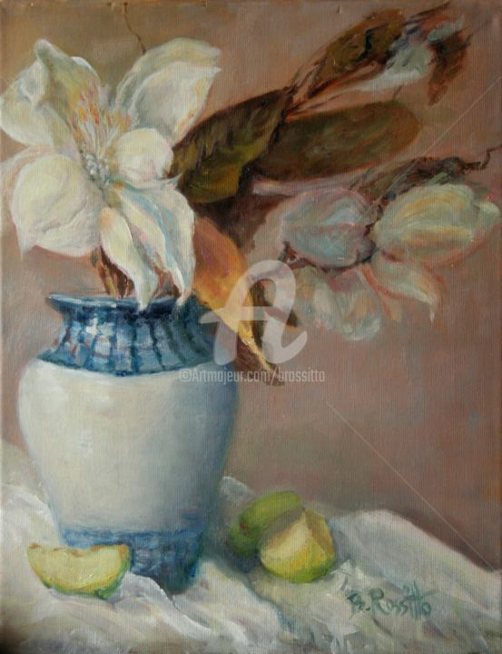 Magnolia Blossoms - Painting,  14x11x1 in ©2008 by B.Rossitto -                                                            Realism, Canvas, Still life, Magnolia Blossoms Painting, oil painting, impressionism, still life painting, b rossitto paintings, gallery oil paintings, brossitto