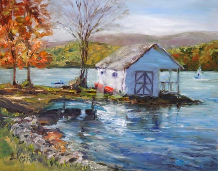 Lake Waramaug - © 2008 Lake Waramaug, CT, Fall landscape in Oil, Connecticut Landscape, Autumn, by artist B.Rossitto, Autumn in Connecticut, Connecticut Artists, Water, Lake, Autumn Landscape, Boat House on Lake Online Artworks
