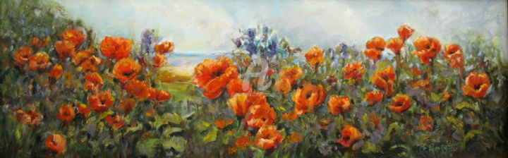Poppies by the Shore - © 2009 Painting of Poppies by the sea 10x30 Online Artworks