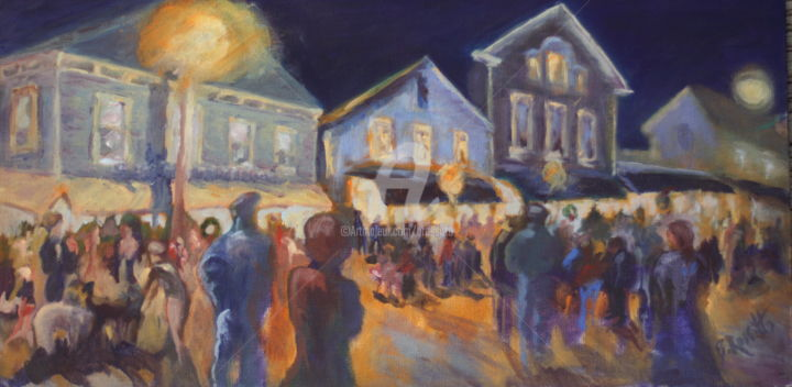 Streetlights in Chester - © 2010 Painting of cheerful holiday night scene in Chester, CT, Night scene, crowd scene, Chester Street Scene, Opening of Holiday Season, Christmas Carolers, Christmas shoppers, Historical buildings, Cityscape, Street scene, Holiday shoppers Online Artworks