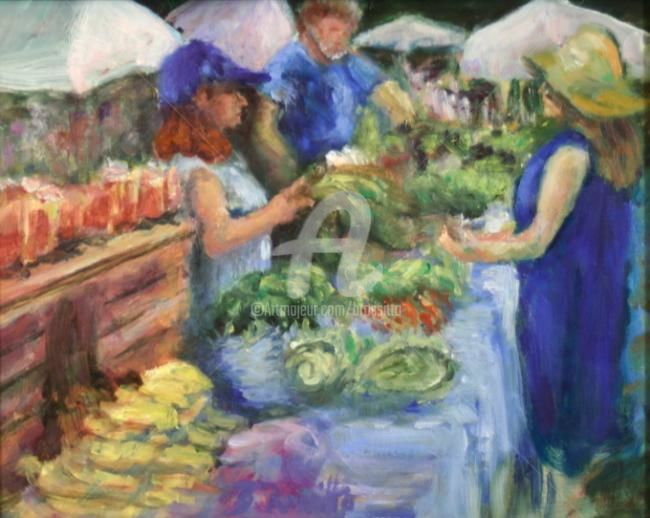 Market Day - Birdsong Farm - Painting,  6x8x1 in, ©2009 by B.Rossitto -                                                                                                                                                                                                                                                                                                                                                              Figurative, figurative-594, Agriculture, Farm, Nature, Market day is a quaint plein-aire painting of the Birdsong Farm booth at the Coventy Farmer's Market.  Oil on canvas panel by b.rossitto., people