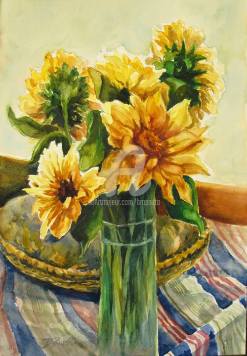 Sunflowers and Stripes - Painting,  20x14 in ©2010 by B.Rossitto -                                                                        Contemporary painting, Paper, Flower, Still life, Sunflowers in a vase on a stripped cloth, watercolor painting original 14x20 by b.rossitto, Sunflowers, Still life with sunflowers, B.Rossitto fine art, Sunflowers and stripes, watercolor painting