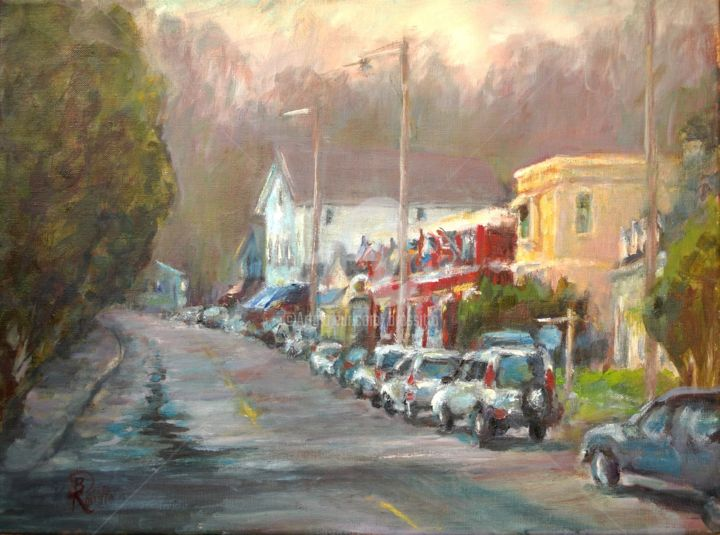 Chester, After the Rain - © 2012 Chester, Early Spring, Quintessential New England, Connecticut Small Towns, Family Friendly, After the Rain, Plein Air, Connecticut Artists Online Artworks