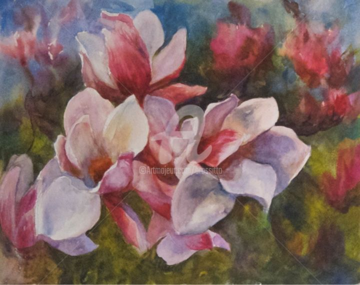 Magnolia Blossoms 2017 Painting 14x10 5 In