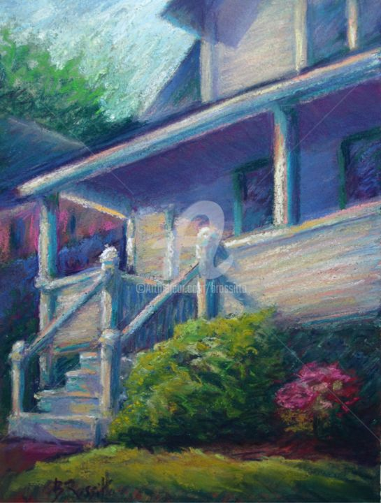 The Porch - Painting ©2014 by B.Rossitto -                                                            Impressionism, Paper, Architecture, porch, New Hampshire, Lodge, Lake Sunapee, George's Mills, Pochelon Painters