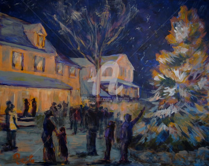 Lighting the Christmas Tree - Painting,  1x20x16 cm ©2014 by B.Rossitto -                            Contemporary painting, Christmas Tree, Small Town, Chester, Quintessential New England, Lighting The Christmas Tree, Holiday Themed Paintings