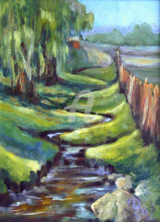 Winding by the Willows - ©  farm, brook, water, willow tree, land trust property, Glastonbury, B.Rossitto Fine Art, New England Landscape, Babbling Brook, Cider Mill Online Artworks