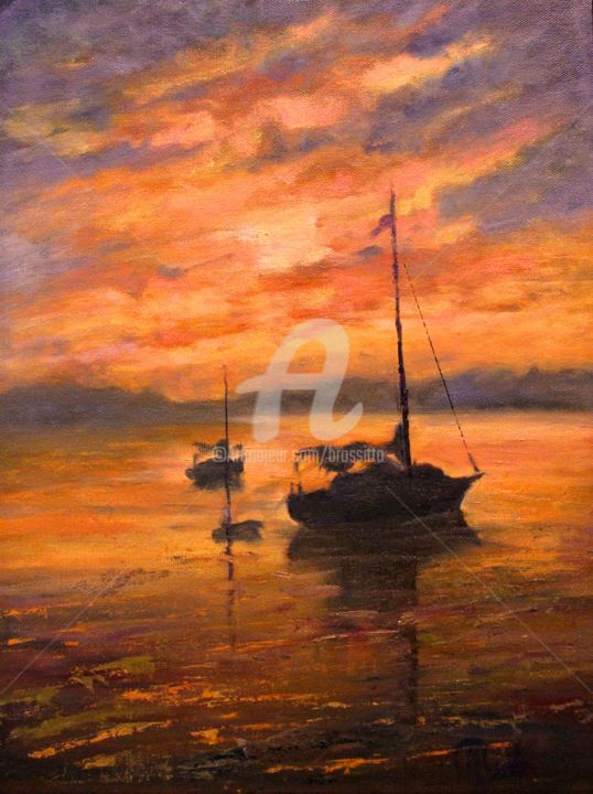 The Day is Done - © 2013 Sailboat, sunset, serene, water, reflections, End of Day, B.Rossitto, B.Rossitto Fine Art, New England Seascape Online Artworks