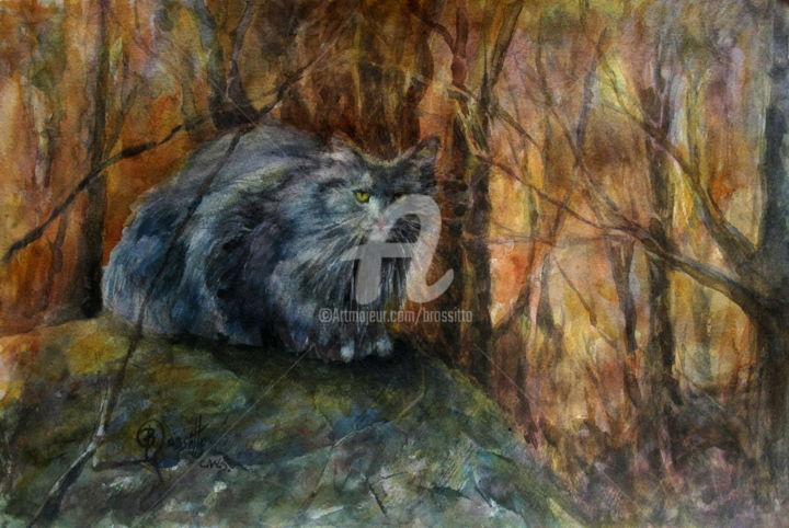 The Grey Stalker - Painting,  1.5x17x22 in ©2014 by B.Rossitto -                                                            Impressionism, Paper, Animals, cat, grey cat, autumn foliage, watercolor painting, B.Rossitto fine art, New England landscape, Glastonbury, stalker, hunter, long haired cat