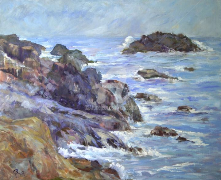 Bass Rocks - Painting,  20x2x24 in ©2015 by B.Rossitto -                                                                                                Contemporary painting, Impressionism, Other, Nature, Seascape, Water, Water, Seascape, Bass Rocks, Rockport, Massachusetts Seashore, BRossitto, Oil painting, Blue, Violet
