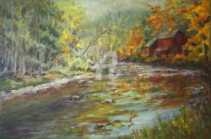 A River Runs By - ©  River, Autumn, Litchfield, Connecticut landscape, BRossitto, Foliage, Reflections, Oil Painting Online Artworks