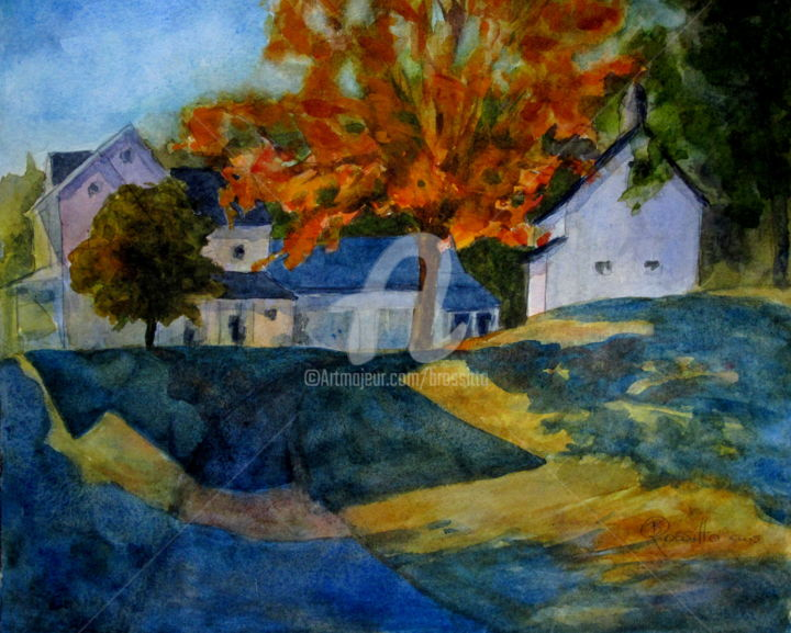 Chester farmhouse Autumn - Painting ©2015 by B.Rossitto -                                                                                    Contemporary painting, Paper, Architecture, Landscape, Rural life, Chester, Farm house, Watercolor painting, Rural Landscape, BRossitto, Connecticut Landscape, Connecticut Watercolor Society