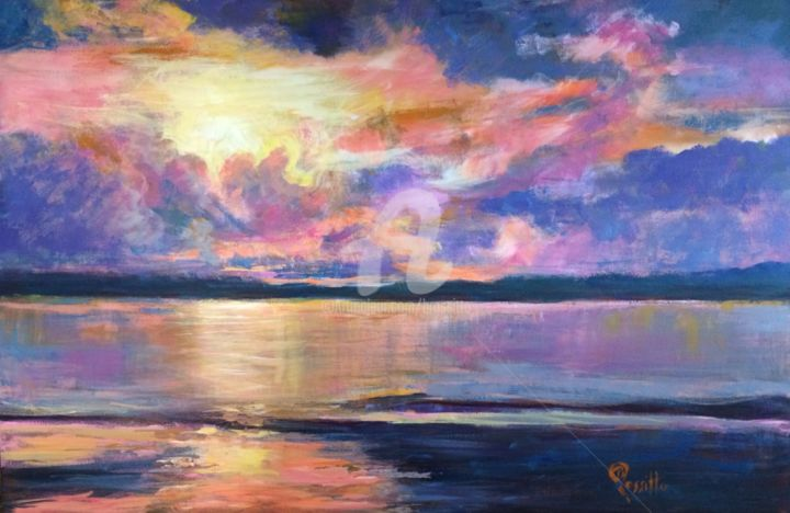 Spectacular Sunset - ©  Sunset, purple, orange, Old Saybrook, Connecticut Shore, Long Island Sound, Spectacular, Sensational, BRossitto, Acrylic Painting, Connecticut Women Artist Online Artworks
