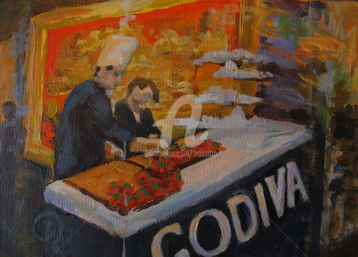 The Chocolatier - ©  Godiva, Chocolate, Chocolate covered strawberries, acrylic painting, The Chocolatier, BRossitto, Red, Gold, NYC Online Artworks