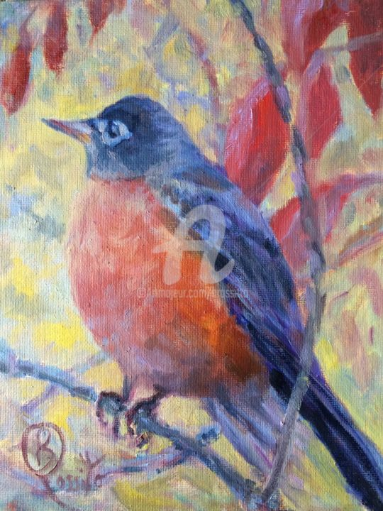 Robin Redbreast - Painting,  10x8x0.25 in ©2015 by B.Rossitto -                                                            Impressionism, Other, Birds, red, robin, american robin, redbreast, oil painting of bird, nature