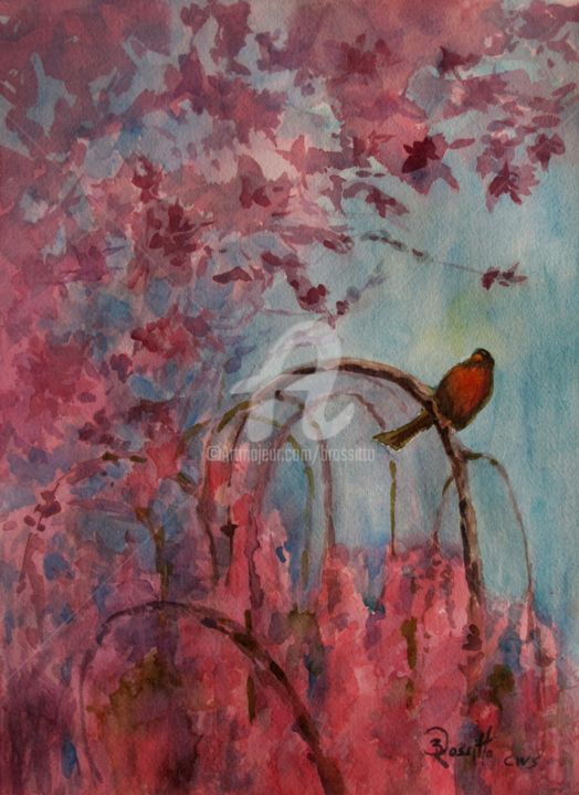 Harbinger of Spring - Painting,  14x10 in ©2015 by B.Rossitto -                                            Paper, Birds, bird, tree, pink, cherry tree, weeping cherry tree, american robin, original watercolor painting, connecticut women artist, bird painting, nature painting, harbinger of spring