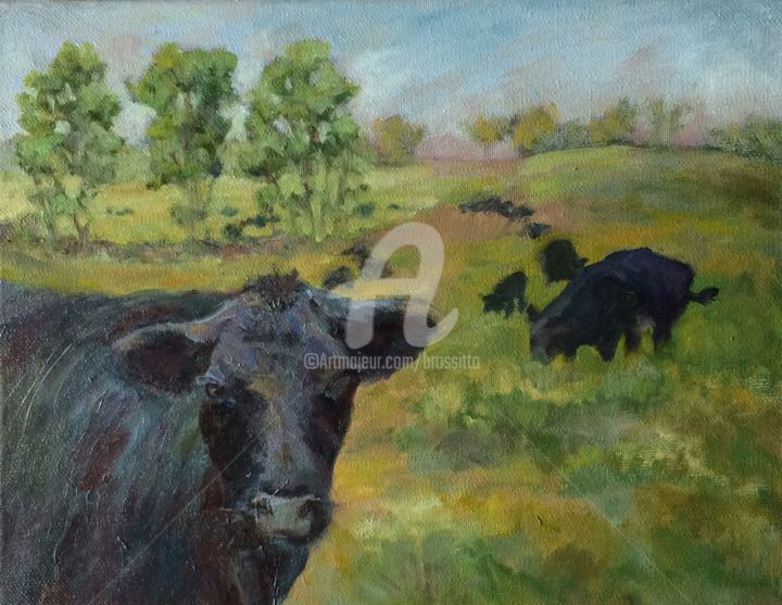 How Now Black Cow - Painting,  12x16x1 in ©2015 by B.Rossitto -                                                            Contemporary painting, Canvas, Cows, black angus, cow, pasture, green, black, land trust, farm land trust, laurel ridge, litchfield hills, connecticut, ew england landscape painting