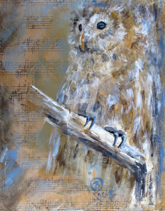 Barred Beethoven - ©  owl, bird, nature, winter, acrylic mixed media, music, Beethoven, Barred Owl Online Artworks