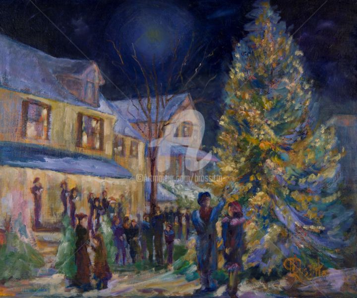 Lighting the Christmas Tree #3 - Painting,  20x24x1 in ©2015 by B.Rossitto -                                                        Contemporary painting, Architecture, Cityscape, cityscape, genre painting, nostalgic painting, Chester, Connecticut, New England, Carollers, Christmas Tree, Town Square