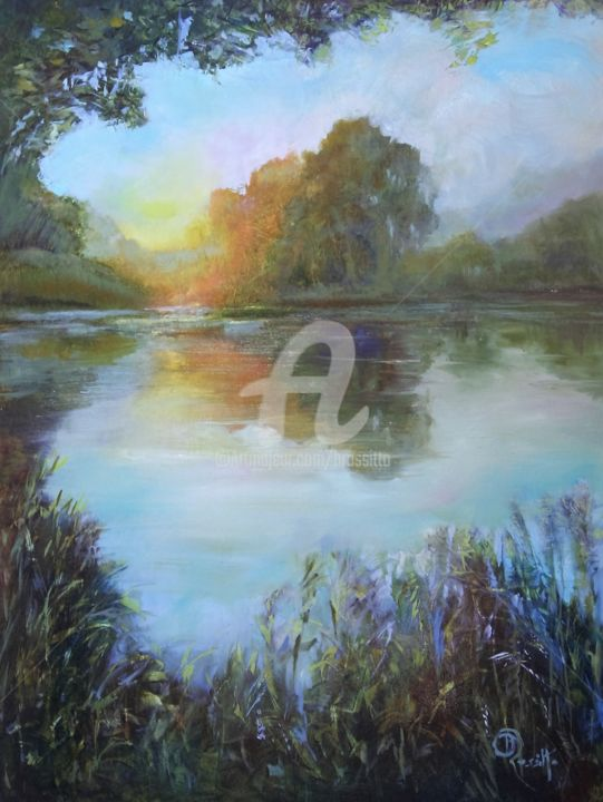 window on the pond - ©  pond, reflections, sundown, window, sunset, brossitto, water, nature, oil painting Online Artworks