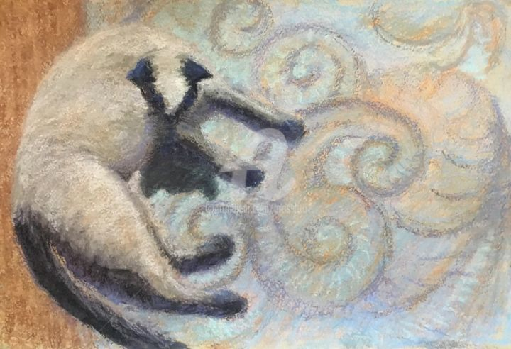 Paisley repose - Painting,  11x17x1 cm ©2016 by B.Rossitto -                                                                                    Contemporary painting, Paper, Animals, Cats, Interiors, siamese cat, paisley