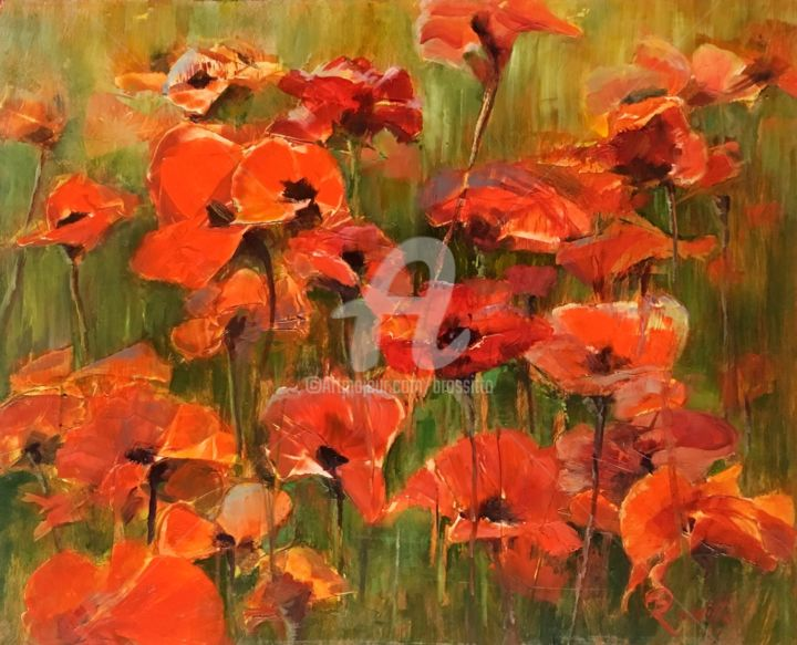 Field of poppies - Painting,  16x20x1 in, ©2016 by B.Rossitto -                                                                                                                                                                                                                                                                                                                                                                                          Other, Flower, Abstract Art, poppies, flowers, nature, B.Rossitto, red
