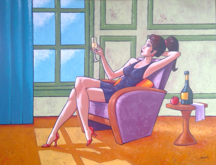 """Painting titled """"Champagne Bliss"""" by François Brisson, Original Art, Oil Mounted on Stretcher frame"""