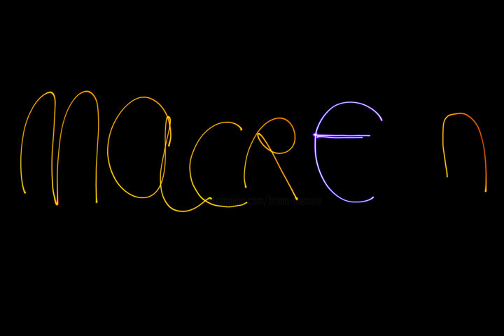 macr€n-2-decembre-18. - Photography,  19.7x27.6x0.4 in, ©18 by MESRINE -                                                                                                                                                                                                                                                                                                                                                                                                                                                                                                      Abstract, abstract-570, Other, artwork_cat.Abstract Art, mesrine.com,    lightpainting,  ecriture,   light,                  , Limited Edition