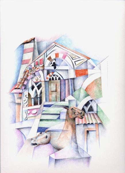 Chiesa con scale - Painting ©2000 by Bruno Sciaraffia -