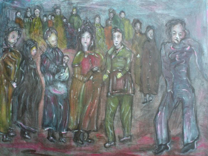 Migrants-50x40.jpg - Painting,  15.8x19.7x0.4 in, ©2018 by Bruno Briatte -                                                                                                                                                                                                                                                                                                                                                                                                                                                                                                      Expressionism, expressionism-591, Other, Men, siècle, changements, médiévale, migrant, refuge, abris