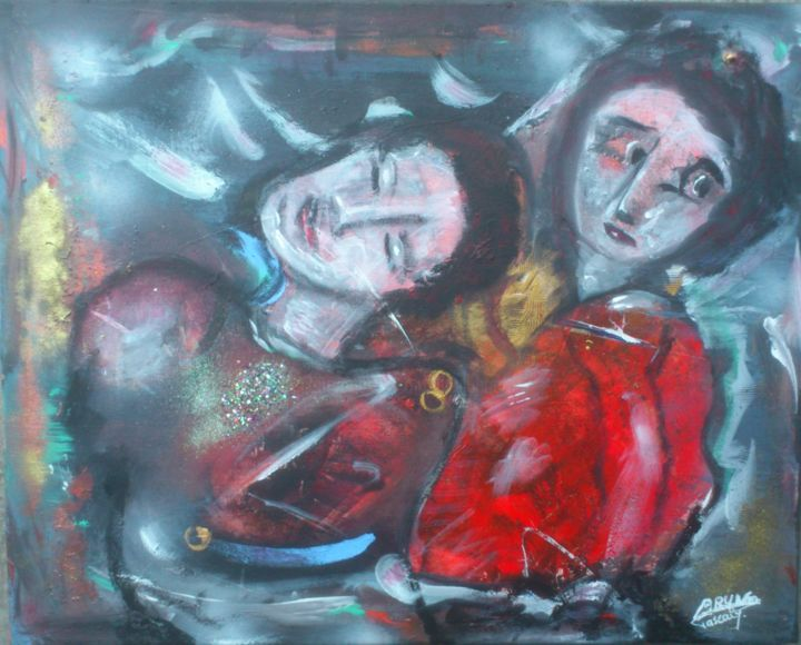 les-inseparables-46x38.jpg - Painting,  46x38x1 cm ©2018 by Bruno Briatte -                                                            Expressionism, Canvas, People, couple, inséparable
