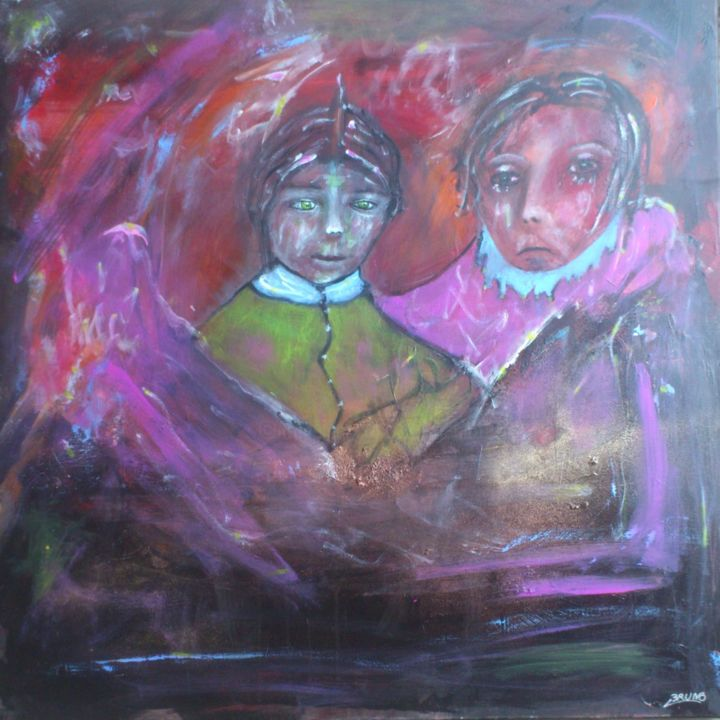 Honoré et Fémina - Painting,  100x100x1.5 cm ©2018 by Bruno Briatte -                                                            Expressionism, Canvas, Body, Honoré, Fémina